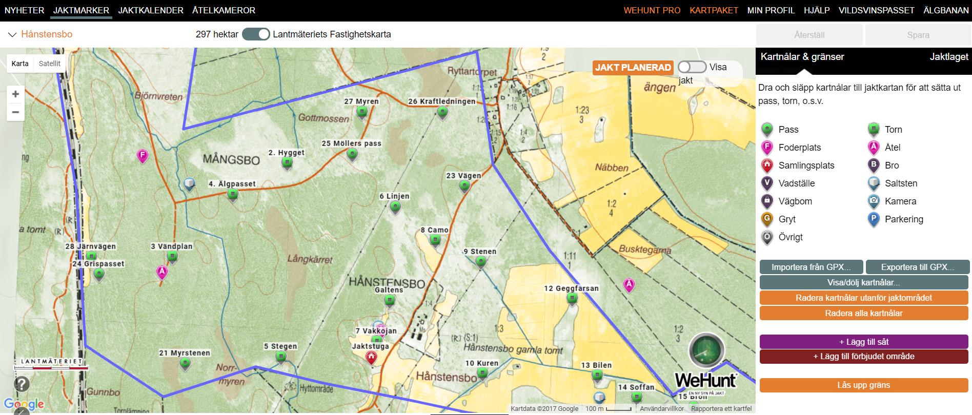 Planera, bjud in, markera gränser mm genom att logga in på WeHunts hemsida eller direkt i appen.