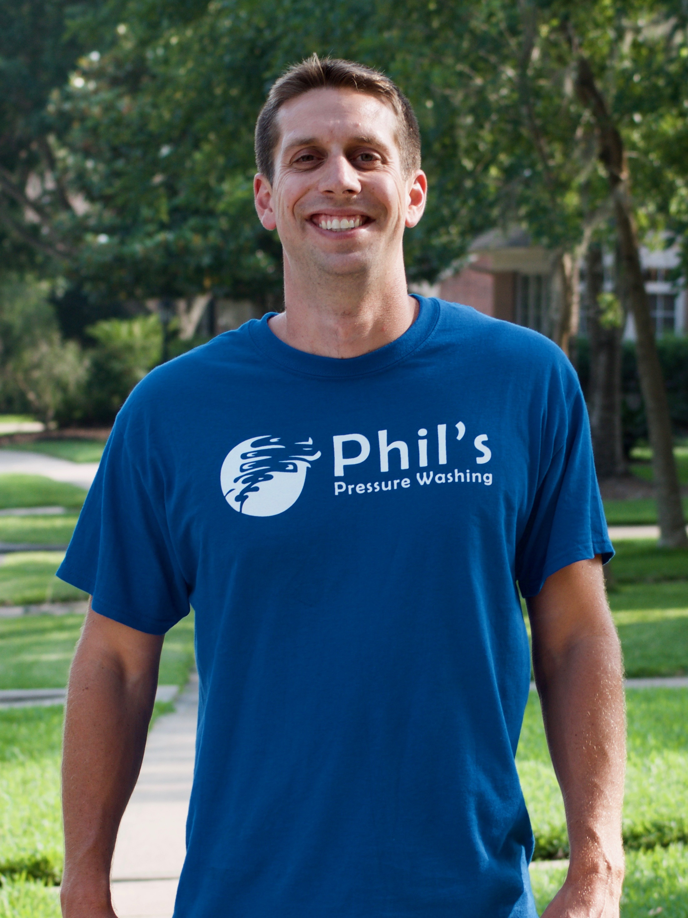 Phil -Owner - Phil graduated from Texas A&M University in 2008, and founded Phil's Pressure Washing shortly thereafter. When he's not working, he enjoys playing basketball and walking his dog Zena.
