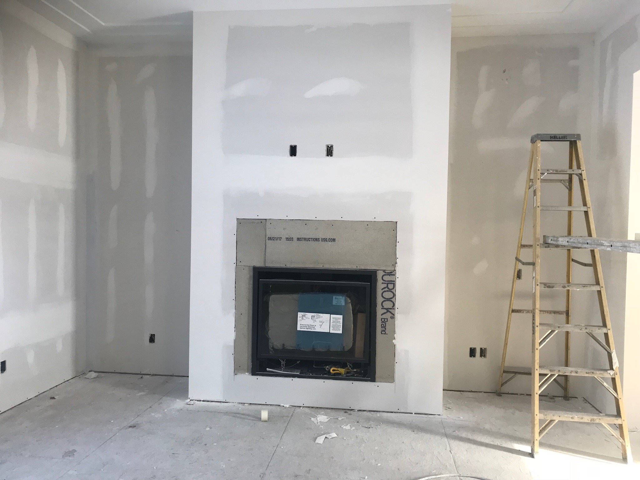 The photo I took a few weeks ago with the process!The tv will go above the fireplace.