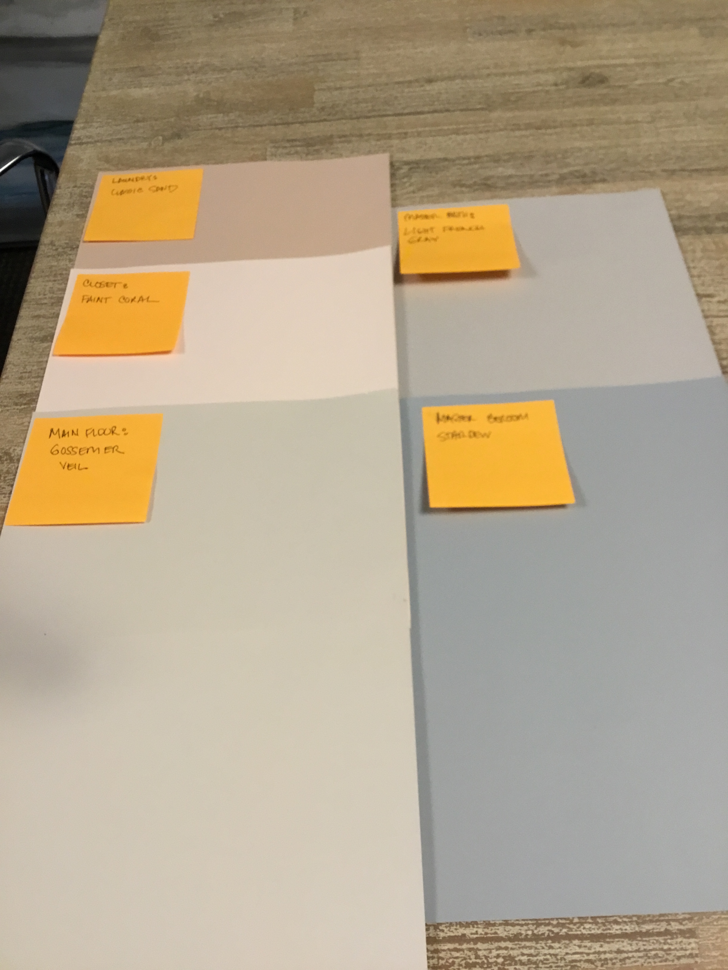 Paint colors for the main floor.