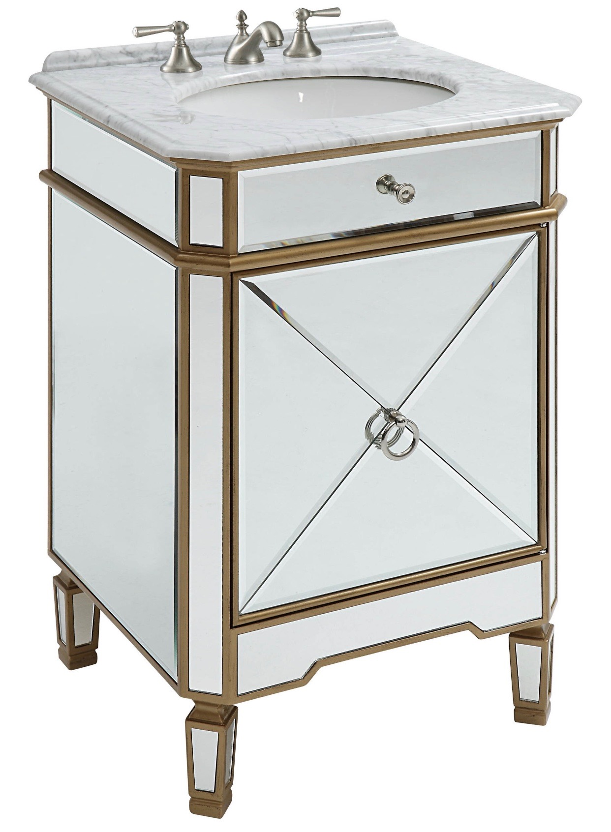 The vanity sink for my powder room.Along with gold accents in the fixtures.