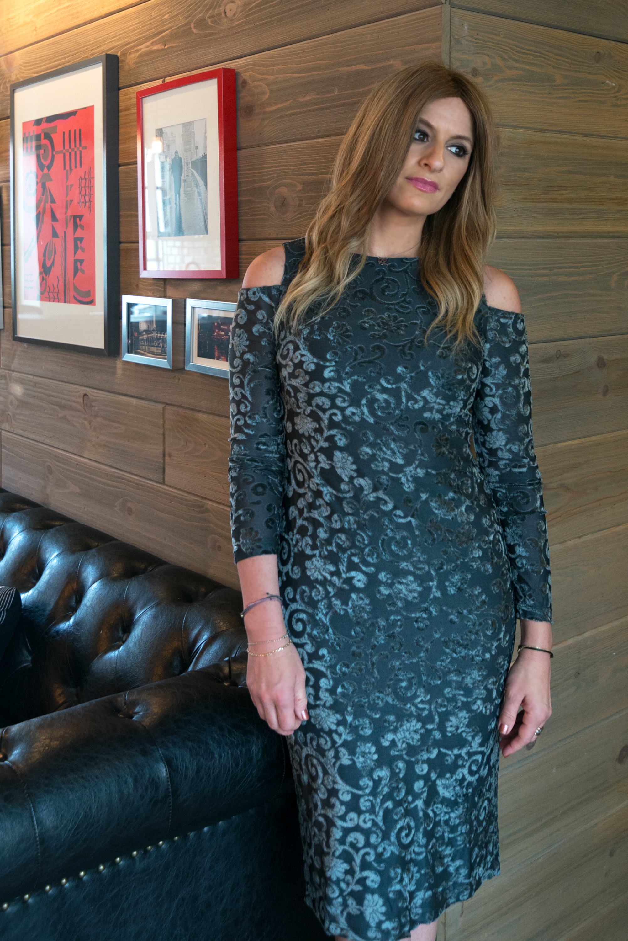 Denise is wearing our  Cari Cold Shoulder Midi