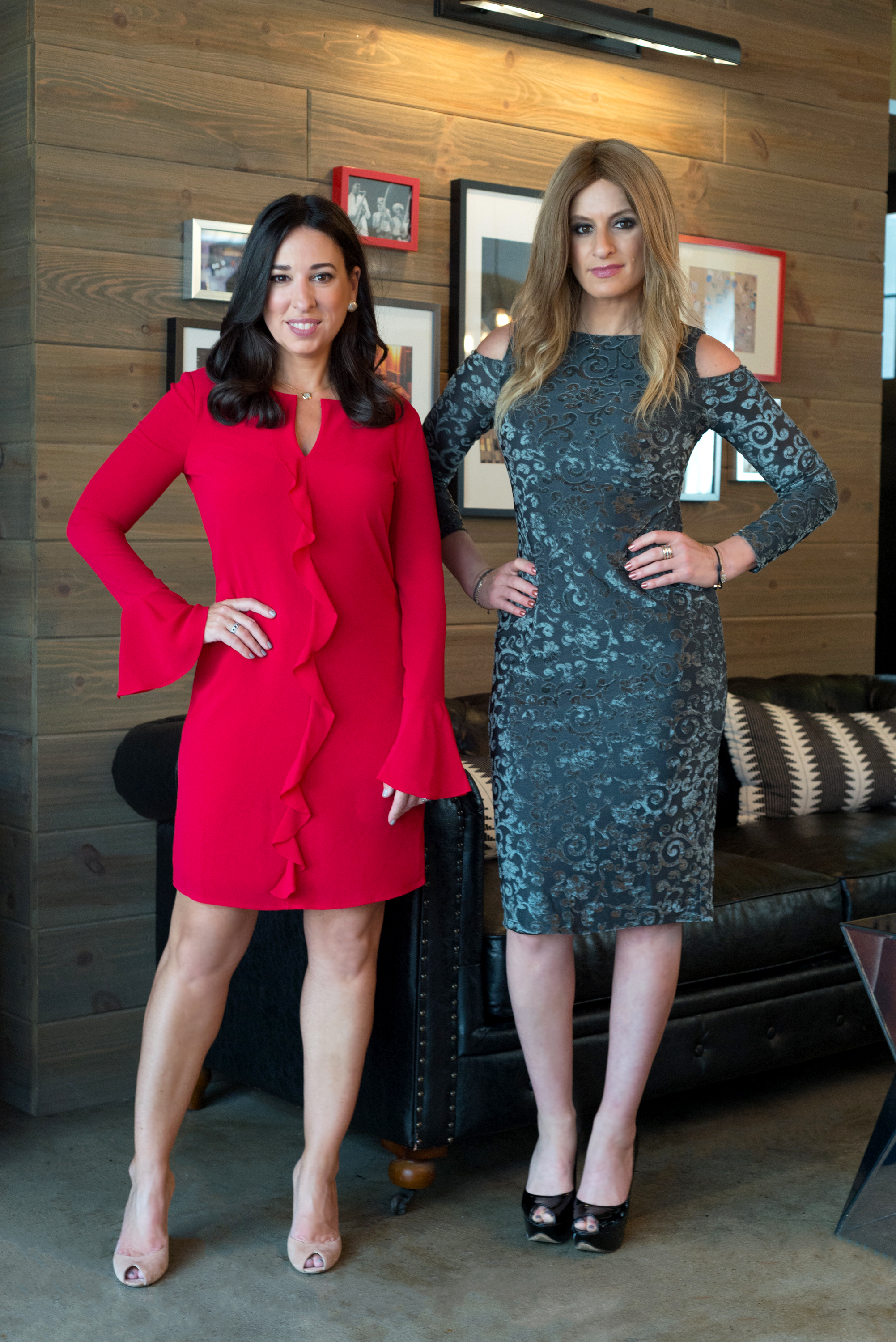 Melissa (left) is wearing our  Lucielle Shift  ($78) and Denise (right) is wearing our  Cari Cold Shoulder Midi  ($98)