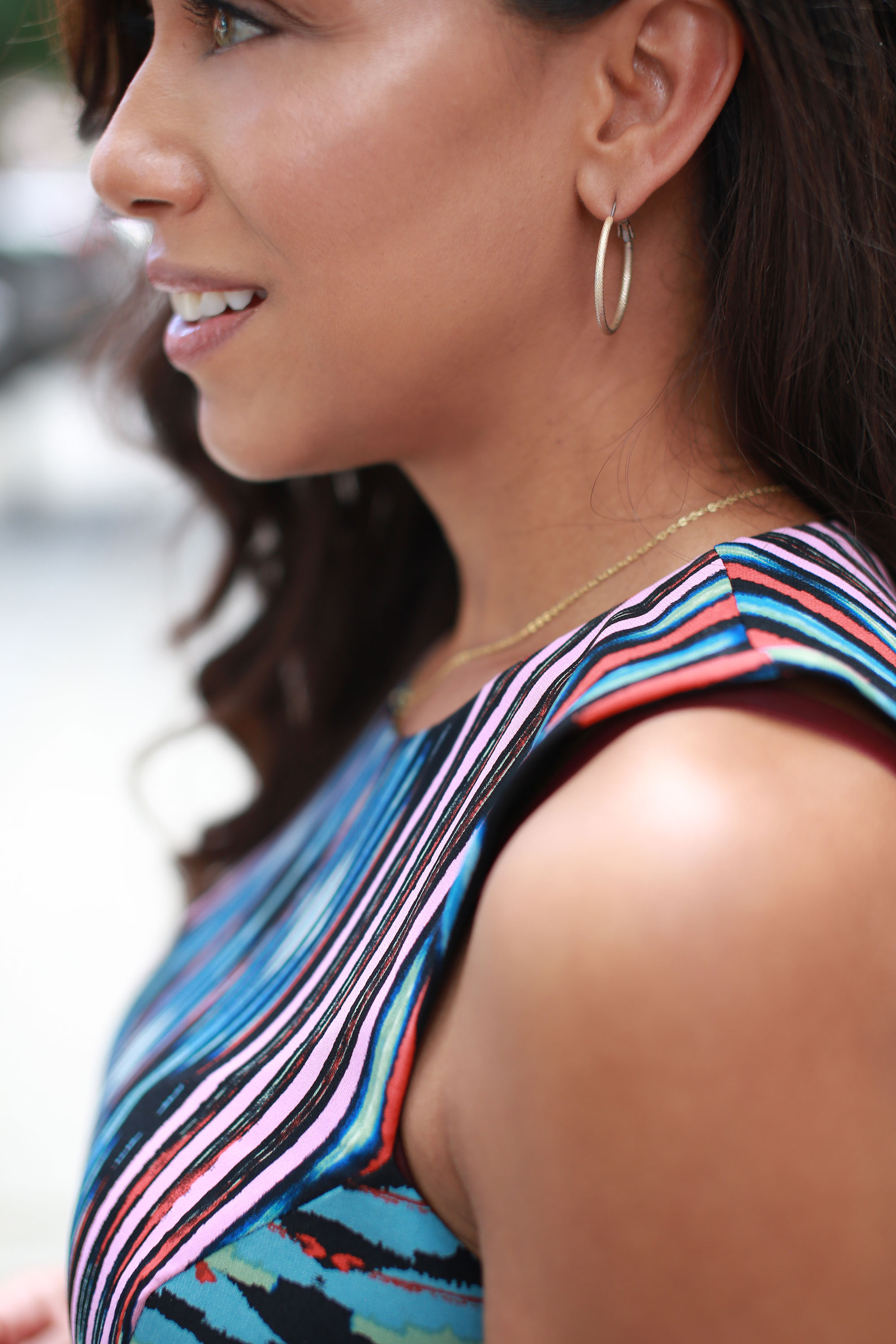 THE EARRINGS - Reach for your favorite not too big, but not too small wear-with-anything hoops. Keep the rest of your jewelry simple and light to maximize work-day comfort.