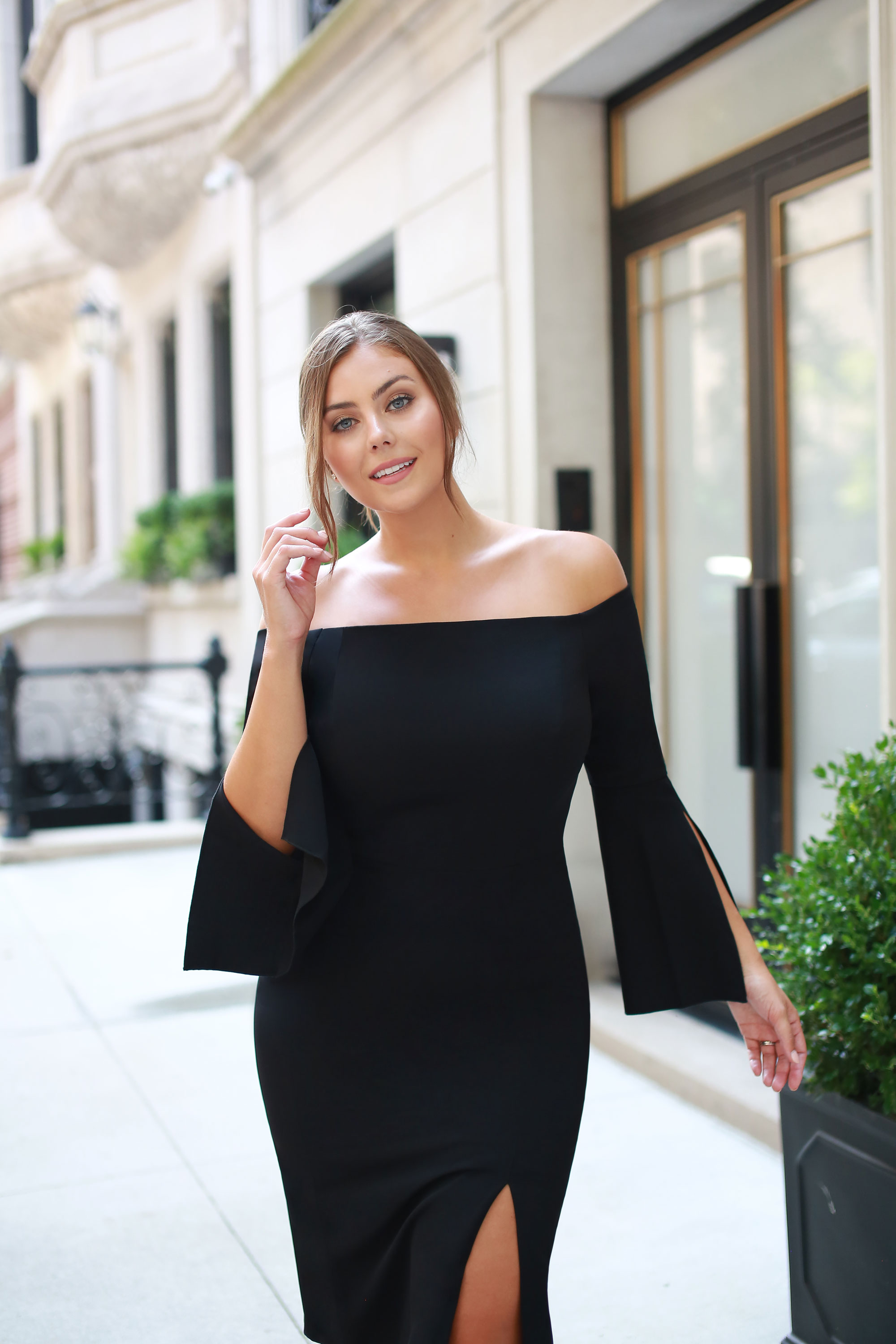 1. Anniversary Celebration - Say it with a pair of statement statement sleeves! The classic and sexy off-the-shoulder cut gets an upgrade in our Liza Midi with elbow-slit sleeves. An elegant take on an LBD is the perfect way to cheers the years of love.