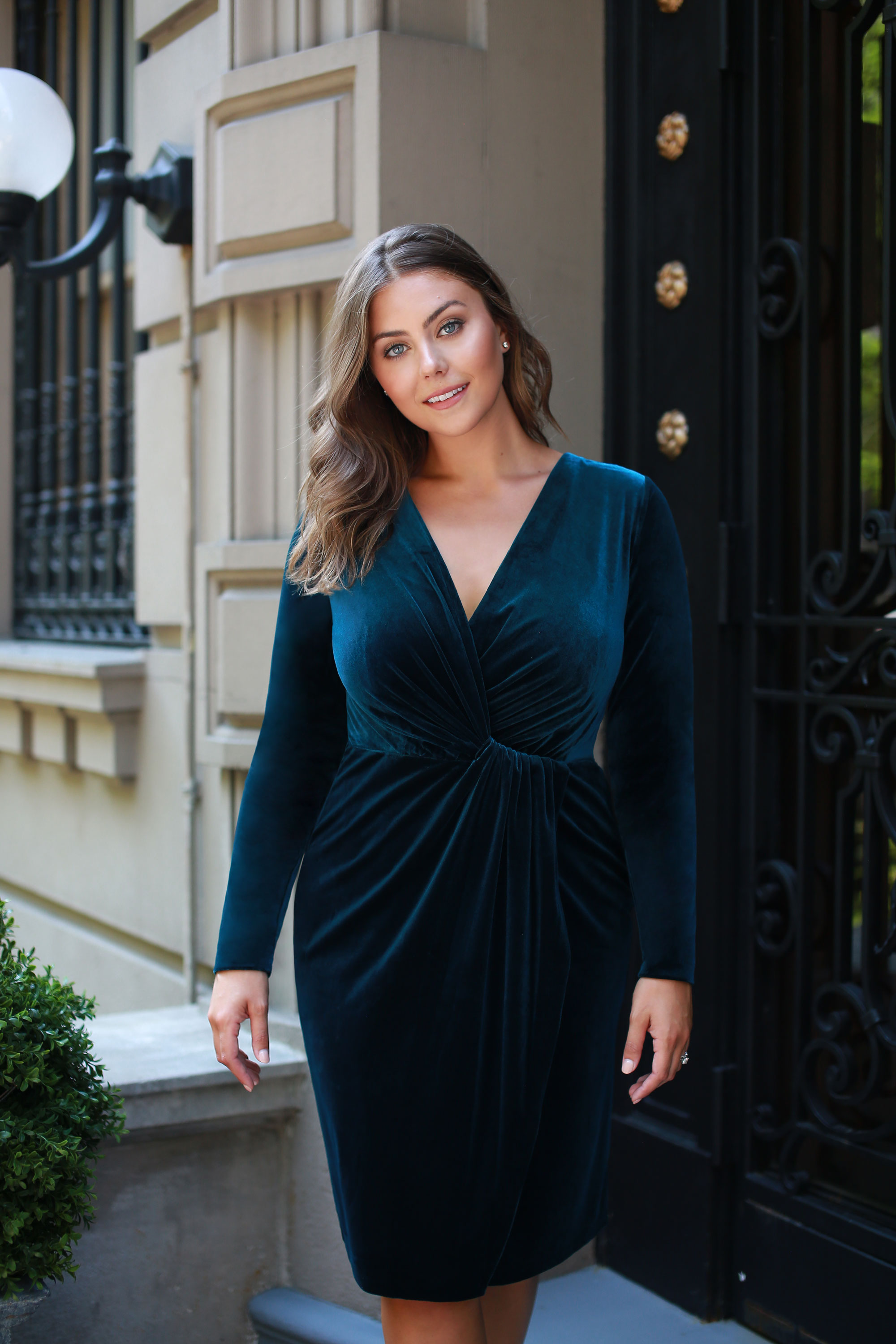 4. Fall Wedding - Best part of fall? Breezy weddings under autumn foliage… and the outfits! We can't get enough of this velvet mock-wrap finished with a flattering folded detail. Pull this dress out for fall's velvet debut, and get ready to reach for it all season long.