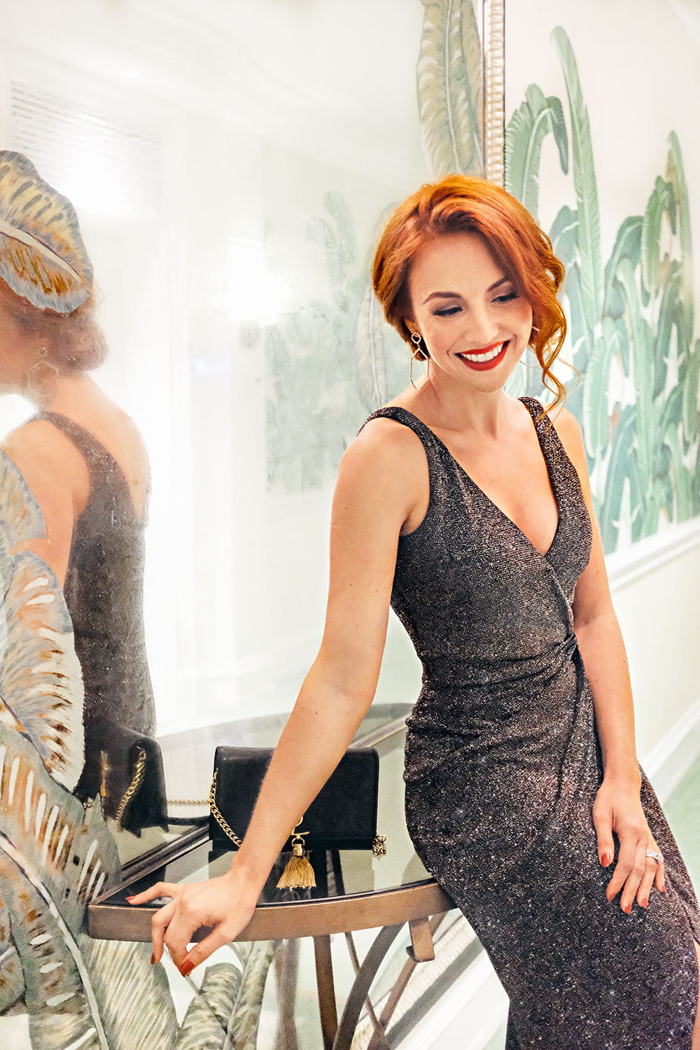 Catherine, The Southern Gloss - What is your favorite style from the collection?My favorite dress from the collection is definitely the Daphne Midi!Why do you love it? I love it because it flatters every figure by creating a classic silhouette, and is comfortable enough for a night full of fun and dancing.If you could wear it anywhere, where would it be? It was my dream dress! I wore it on the red carpet at the Beverly Hills Hotel and then out to dinner in LA for my 5-year wedding anniversary.