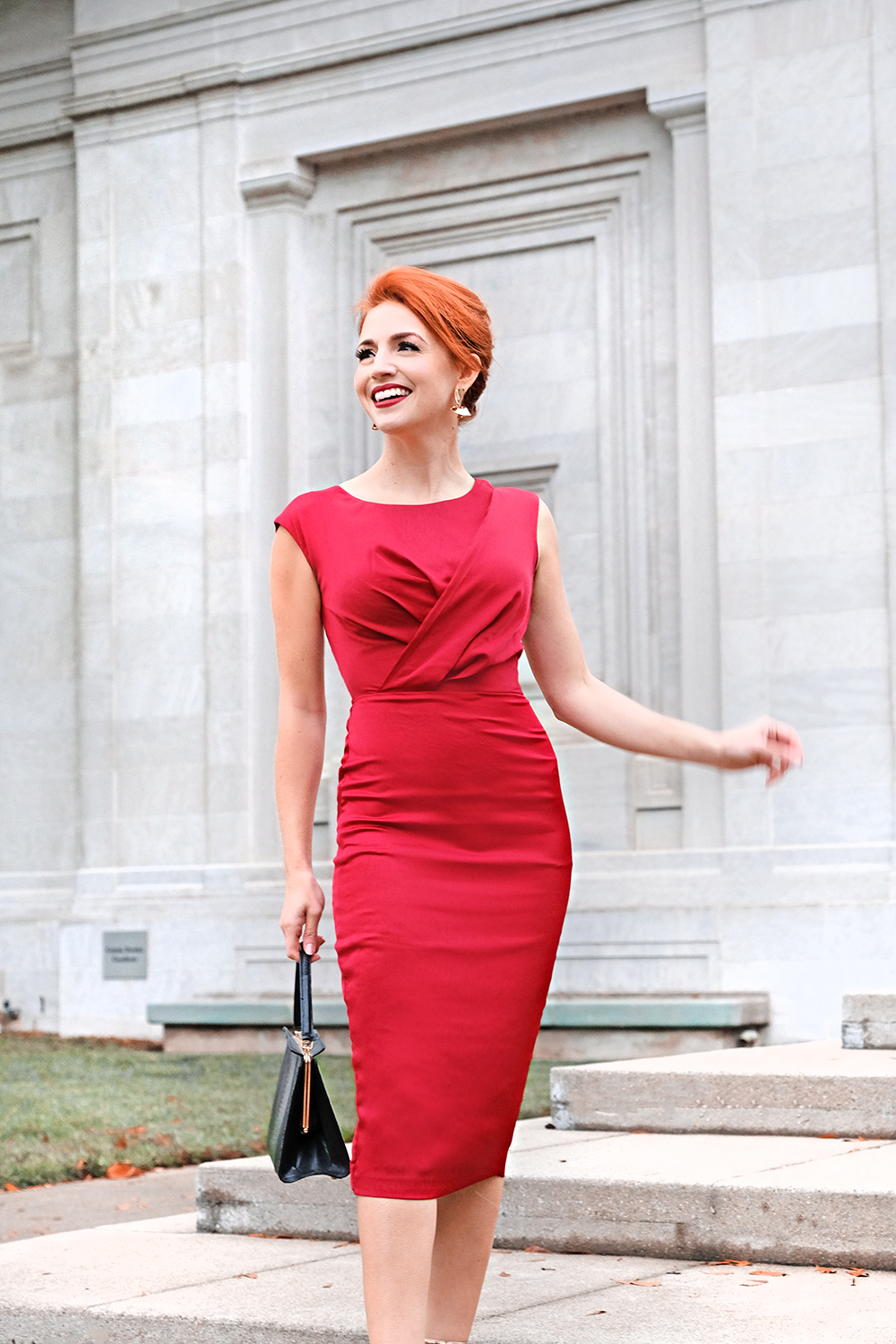 The Bria Dress - Va-va-voom! With its sophisti-sexy design and glimmering scarlet fabric, what's not to love?As seen on Catherine Kung, Author of The Southern Gloss