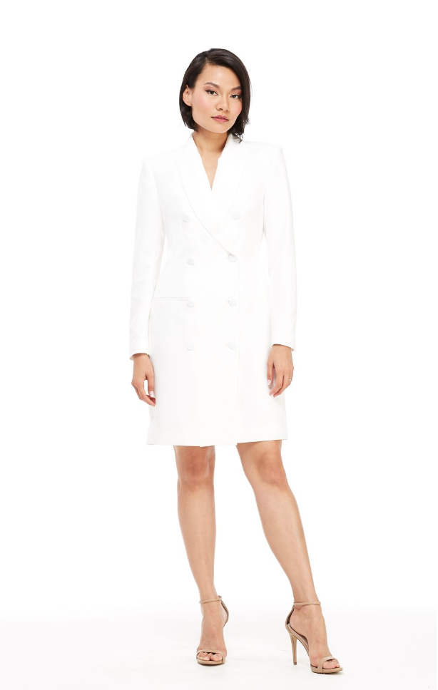 The Toni Tuxedo Dress - White