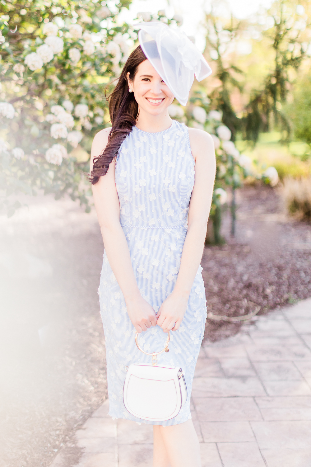 """This is hands down my favorite Derby Day look!"" - ""The pinstripe print and floral embroidery on the Cecilia Midi dress is absolutely gorgeous and perfect for spring."" - Stephanie"