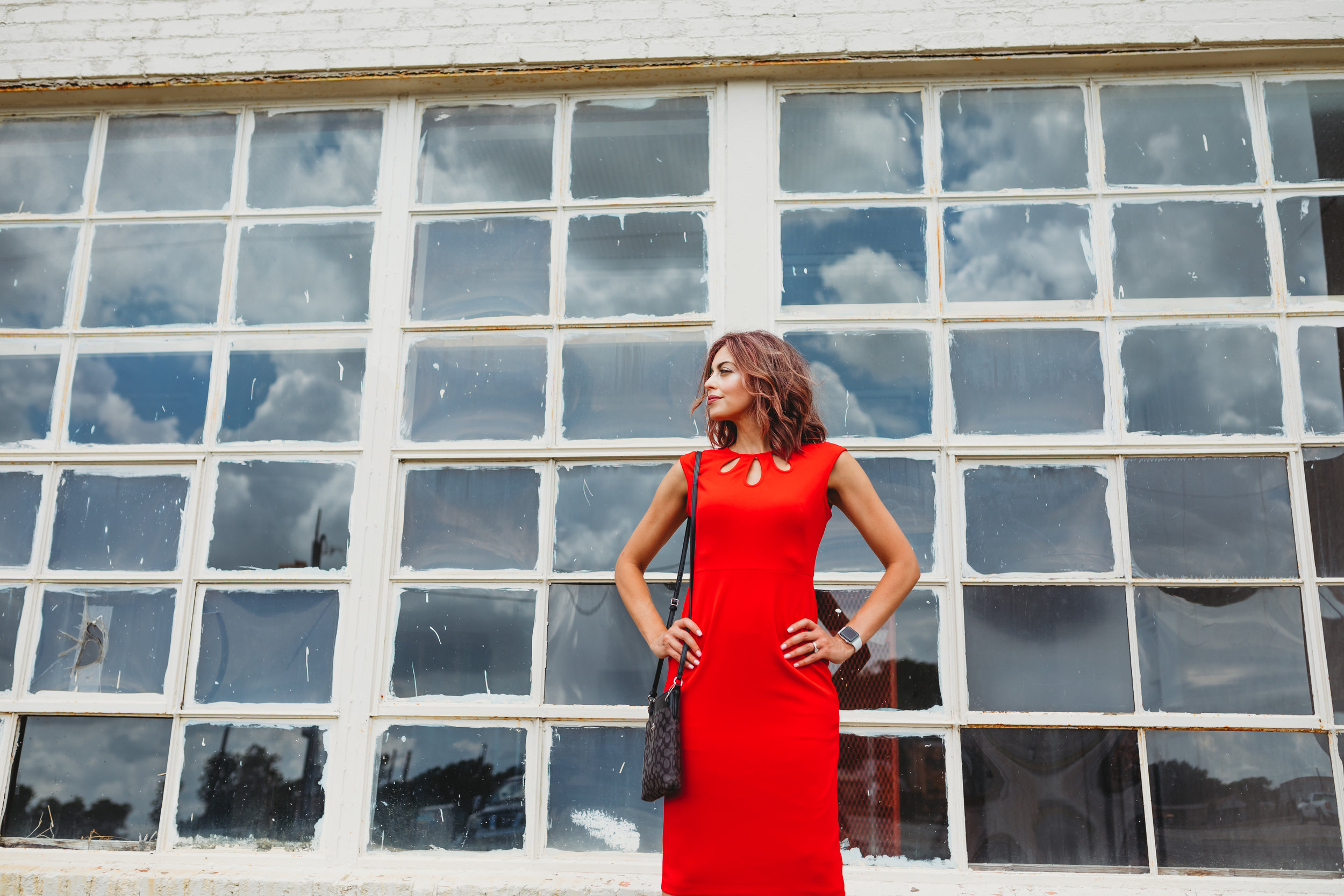 Louise is wearing our  Alyssa  dress in red