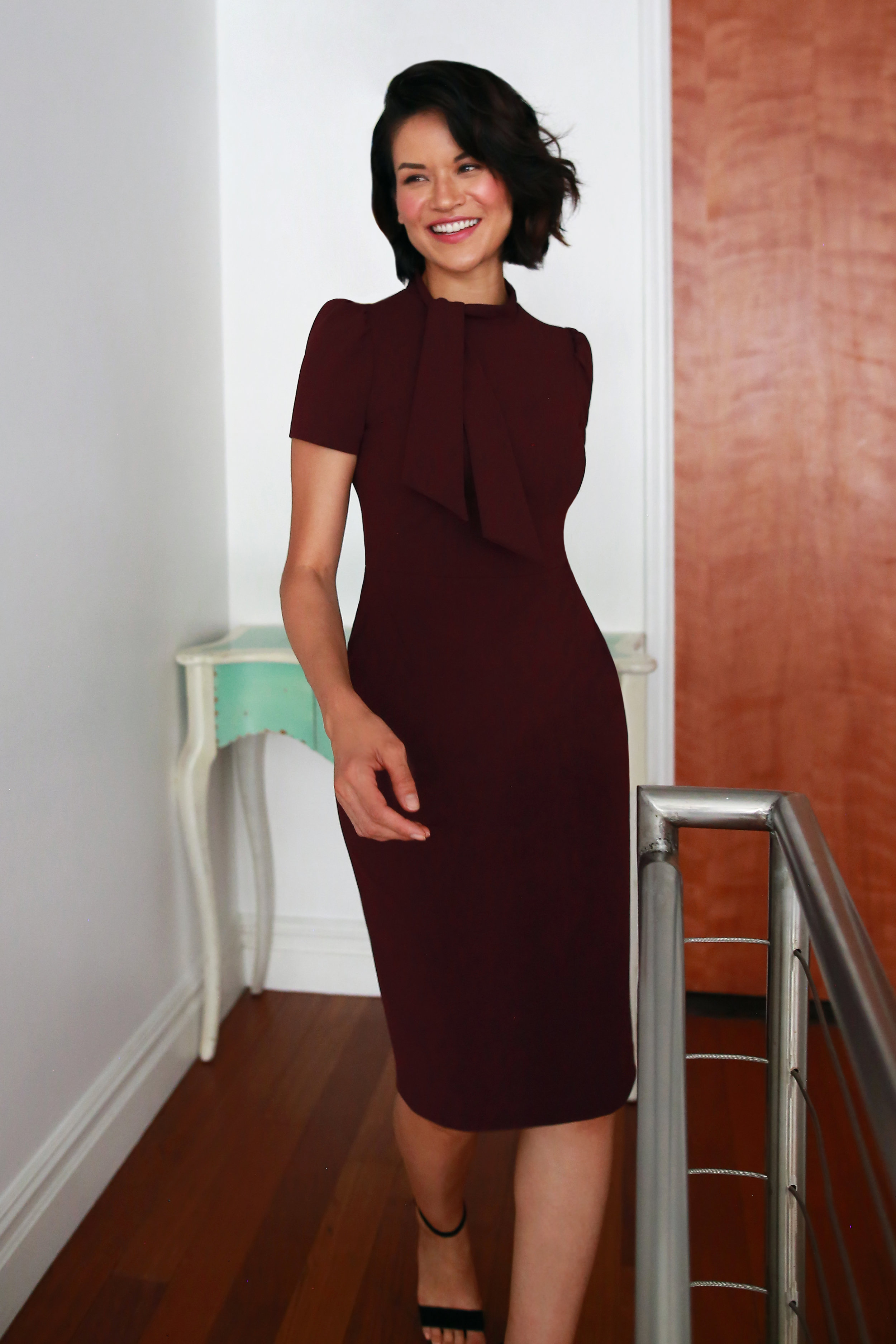 The Margo Dress in Wine - Rich wine red will forever be our weakness, and with this to-die-for neckline detailing, we couldn't wait to brag about this one!