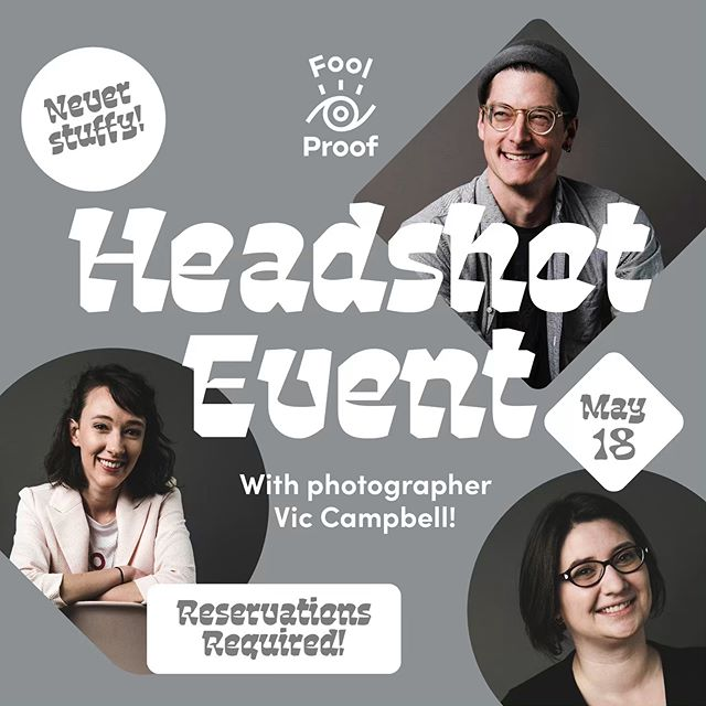 In desperate need of a not-stuffy headshot? We're hosting a headshot day at Fool Proof with photographer @vicsjcampbell! It's a fabulous opportunity to update your headshot plus receive art direction from @_derekhuber who will be onsite at the fun and relaxed environment of Fool Proof. Victoria will be shooting against a beautiful grey backdrop with a handful of stylish chairs and stools available for you to choose form. The idea of these shots is to capture you however you want to be captured; professional/serious or expressive and fun, there is no right or wrong way to pose. Victoria will be joined by co event co-ordinator and art director, Derek who will be there to offer advise on poses/ give you a good laugh when you feel awkward about the fact that a giant lens is being pointed in your direction. . Your session will take approximately 15 minutes and will include 2 high-resolution retouched files of which will be emailed to you within 2 weeks after the event. Additional services such as prints or additional downloads will be available as an added extra. . DETAILS + LINK TO BOOK YOUR SESSION IN OUR PROFILE!