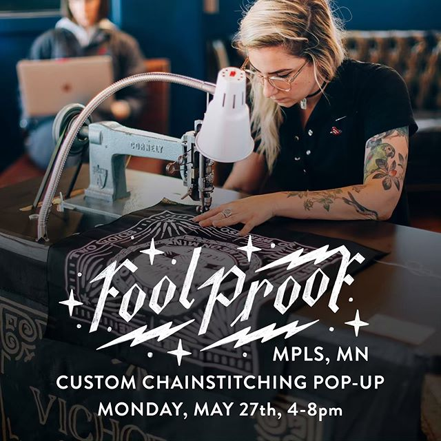 🚨Attention! Attention! Late-breaking Pop-up Alert.🚨 One of our favorite designers, lettering artists, and uh, chainstitchers, Jenna @vichcraft Blazevich is dropping by Fool Proof for a CUSTOM CHAINSTITCHING POP-UP! This Monday, May 27th (Memorial Day) from 4-8pm.  Jenna will be doing custom chainstitch embroidery on woven fabrics (canvas, denim,  shirting). Cost is $25 for one word, but you can email jenna@vichcraft.com if your request includes more words. She'll also have some art prints and other fun stuff for sale!  You can book ahead of time to guarantee your spot, but walk-ups will be taken as time allows. Link in profile!