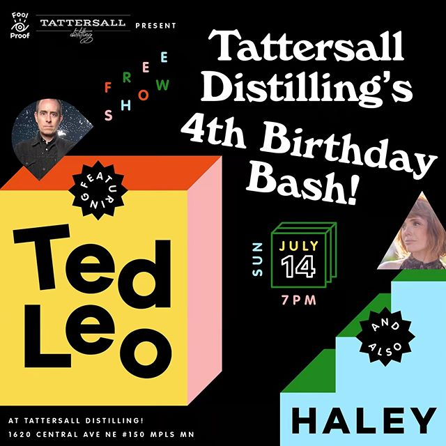 Our besties @tattersalldistilling asked us to book a show to close out their 4th BIRTHDAY BASH, and well... it's a doozy. Ted Leo! Haley! Also, IT'S FREE! See you on Sunday, July 14, party people.