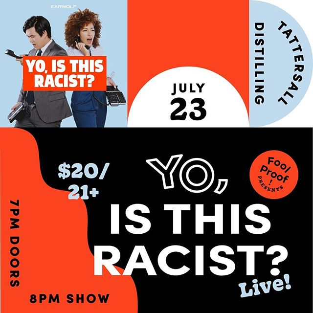 Coming in hot! Later this month we're excited to present Yo, Is This Racist? (@yoisthisracist) live at @tattersalldistilling. @ANDREWTI, @TrondyNewman, and guests are here to help people through the minefield that is race by taking some of your trickiest questions about race and turning them into…comedy gold. GUARANTEED TO SOLVE RACISM! Tickets at link in our profile.