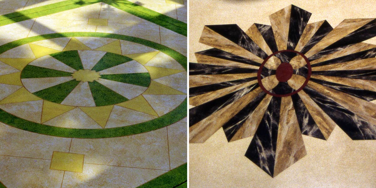 Marbleized Floor Compass Roses
