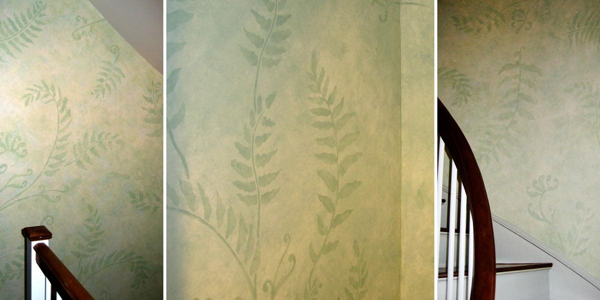 Decorative Ferns on Stairwell