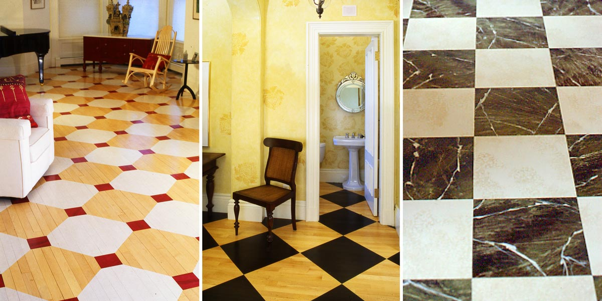 Various Floor patterns with Marbleized Floor Squares
