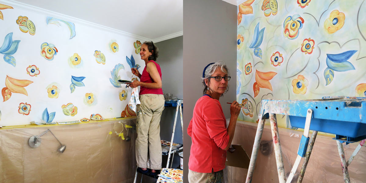 Hand Painted Custom Wall Floral Treatment in Progress