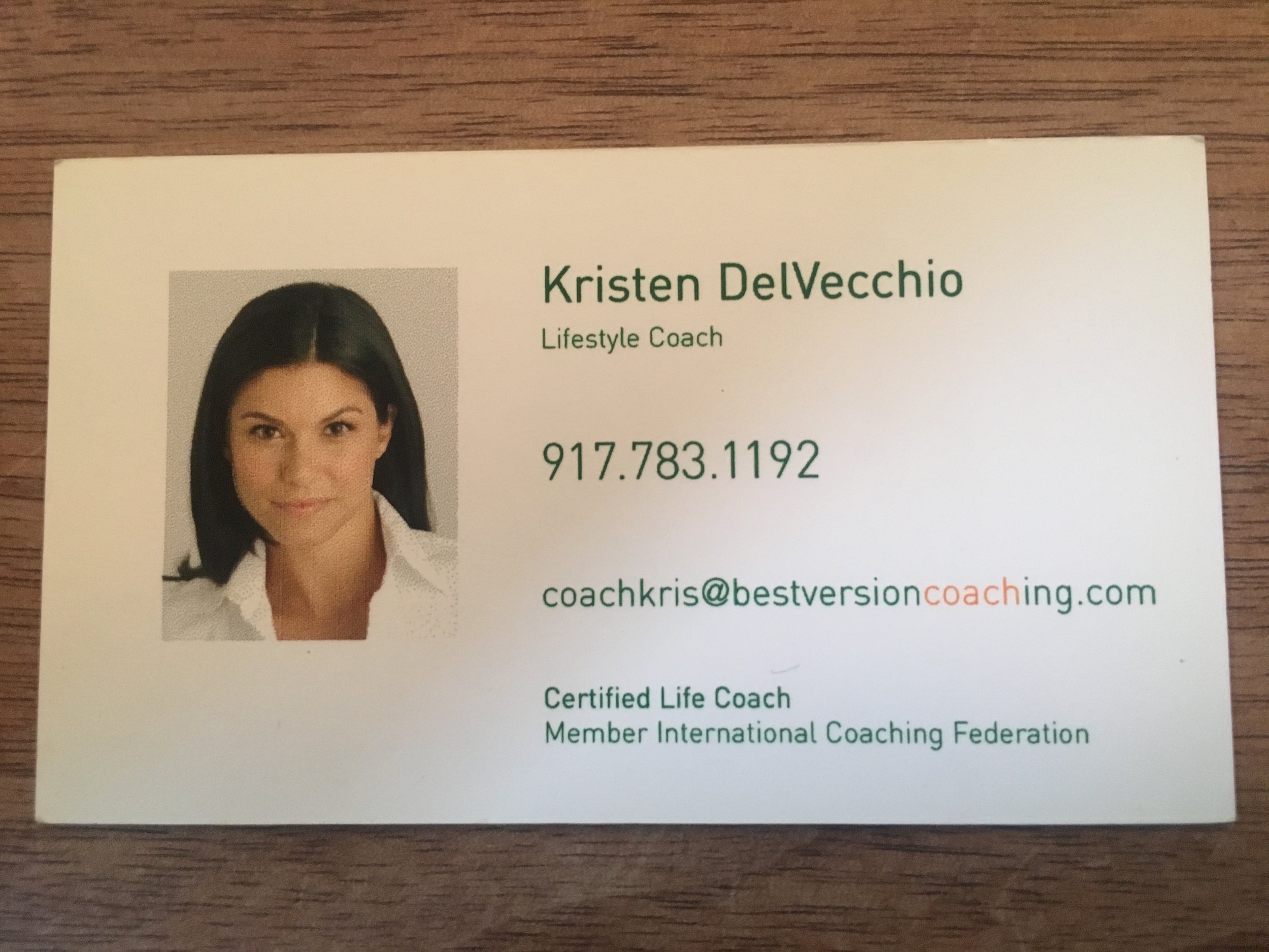 My first life coaching business card (2004)