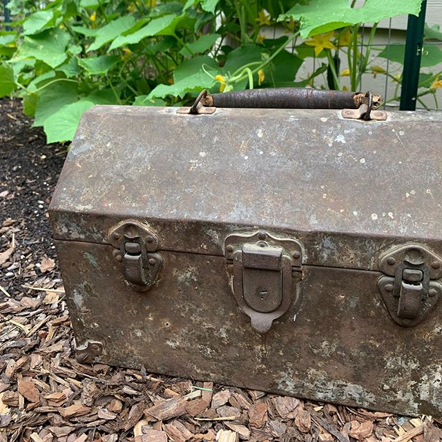 Did a little pickin' at the church yard sale and snagged this 100 year old tool chest. Swipe to see the history! #soexcited #antique #oldstuff #history #patina . ps the sale is tomorrow at McKendree UMC, 9am-3pm