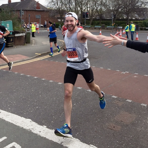 Bobby went sub-3 in his first BQ, at the Manchester Marathon last April