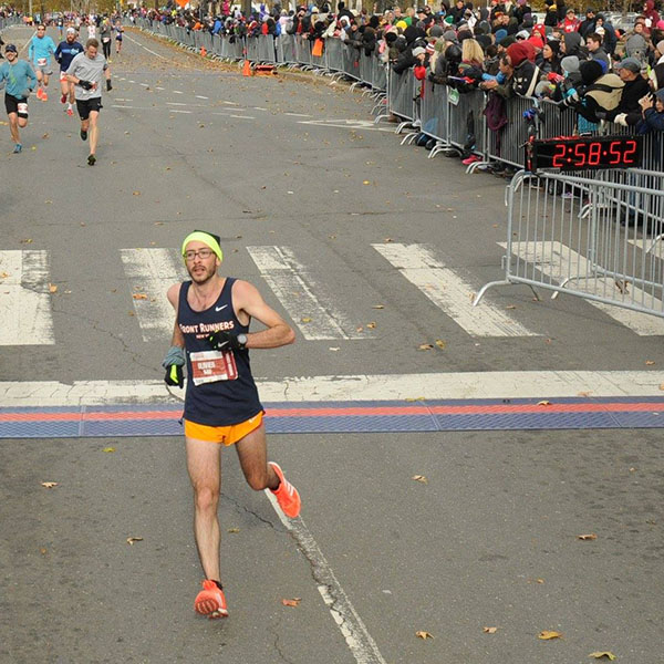 Oliver at the finish line of Philadelphia in 2016