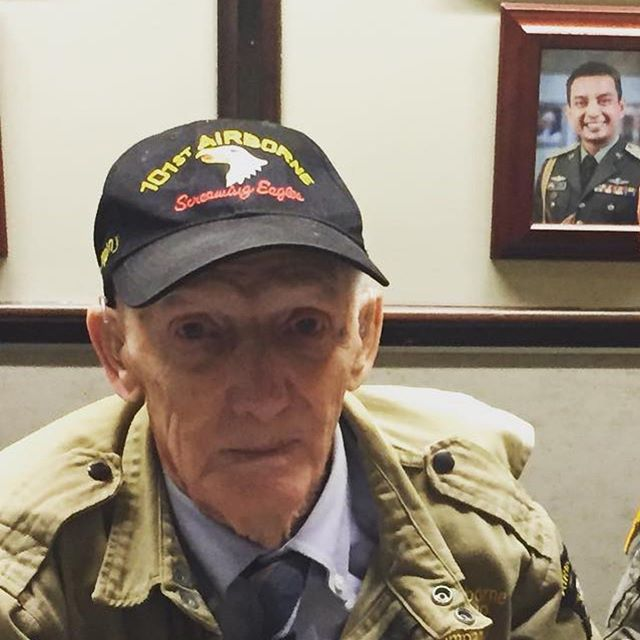"We highlighted WWII vet Jim ""Pee Wee"" Martin over a year ago. He's one of our Iowa hero's. Today we honor and remember him and all those warriors who took part in D Day and Operation Overlord. His name should sound familiar as he was a character in the Band of Brothers. Jim jumped into France over Utah Beach prior to D Day, fought 33 days in Normandy jumped into Holland for Operation Market Garden and defended Bastogne in the Battle of the Bulge. An Iowa legend. He and his 101st brothers had a rendezvous with destiny. #buildingthetribe #iowans #bestofthebest #vetshelpingvets #rememberthefallen #DDAY75th"