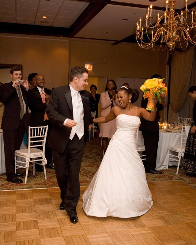 """Then: Dancing into married life with Stevie Wonder's perfect """"Signed, Seal, Delivered"""" playing. 💕💕💍🍾🥂 ~~~~ Now: A full 13 years later, celebrating this journey we're on together. And it is a journey. I know on here, people's pics and filtered lives would have you thinking it's all about the big wedding day. That ceremony and celebration are meaningful, yes. But the actual marriage? That takes work. It's not always easy, but for us, it is 100 percent worth it. ❤️❤️❤️#itsouranniversary #alllove"""