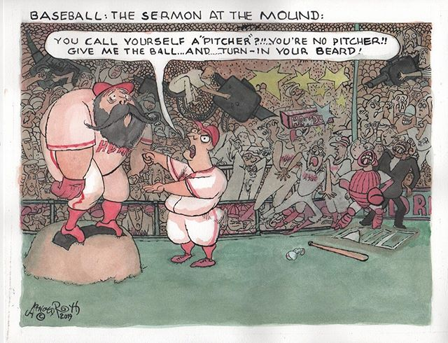 The Artist Addressed Many Contemporary Concerns In This New Humblug, Leaving The Webmaster At A Complete Loss As To Comment. #baseball #pitchers #pitchersandcatchers #bearding #baseballbeards #humblug #arnoldroth