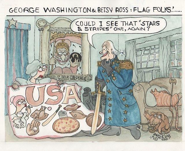 The Webmaster Cheers As the Artist Banishes Flagging Spirits. #flag #starsandstripes #BetsyRoss #GeorgeWashington #flagging #flagmaking #usa #americanhistory #arnoldroth #humblug