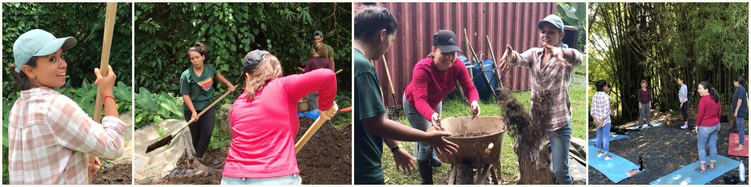 Participantes del    Internado de Educación Agrícola,    Yeli Natali y Naira,       recibiendo entrenamiento en    Plenitud   .