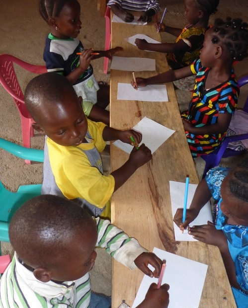 Dovalema  school children developing fine motor & early literacy skills