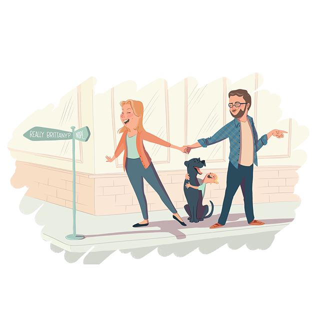"Had an absolute blast creating this fun illustration for my dear friend @britgumm as a gift for her husband Ben! Brittany wanted the image to show how so often she chooses to go ""the wrong way with absolute exuberance, while Ben patiently redirects us the way we should be going"". It was so much fun to illustrate their sweet family, and an honor to have been asked to do this for them. Love you guys! . . . . #art #illustration #customart #commission #artistsofinstagram #procreate #procreateart"