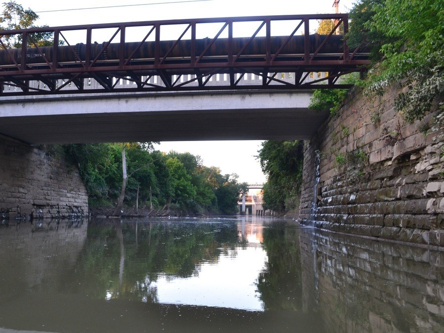 Looking south on the Mill Creek just past Gest Street. (Photo by Joe Rosemeyer | WCPO)