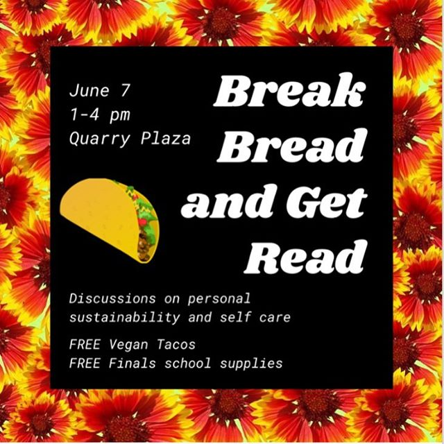 Studying for finals got you down? Come to the quarry plaza this Friday to get tacos 🌮 and free testing supplies!