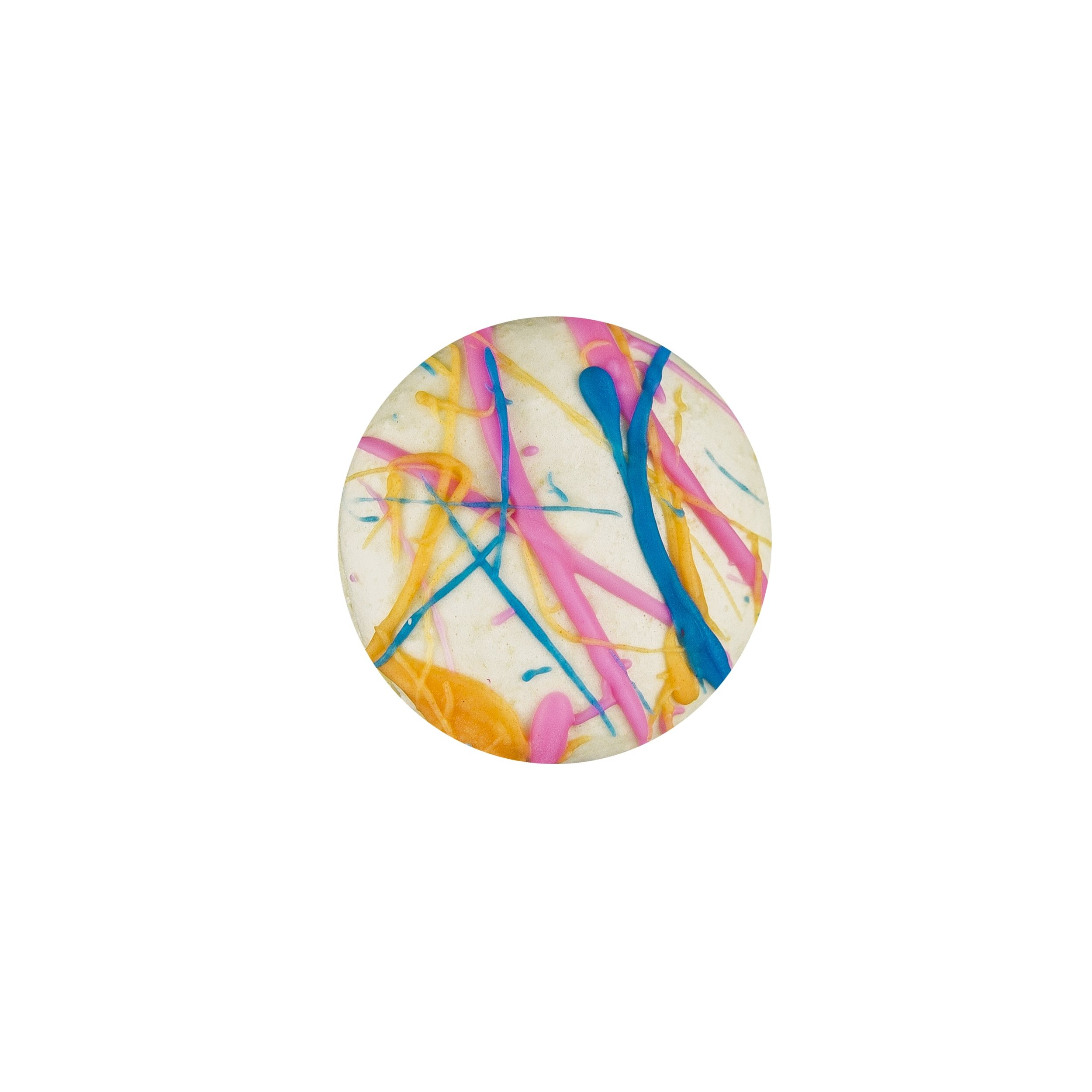 SPLATTER MACARON - WHITE CHOCOLATE VANILLA ALMOND SHELLS+ PINK VANILLA BUTTERCREAM FILLING