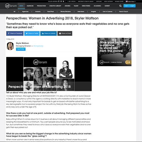 adforum:  Women in Advertising 2018, Skyler Mattson