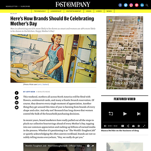 Fast Company:  Here's How Brands Should Be Celebrating Mother's Day