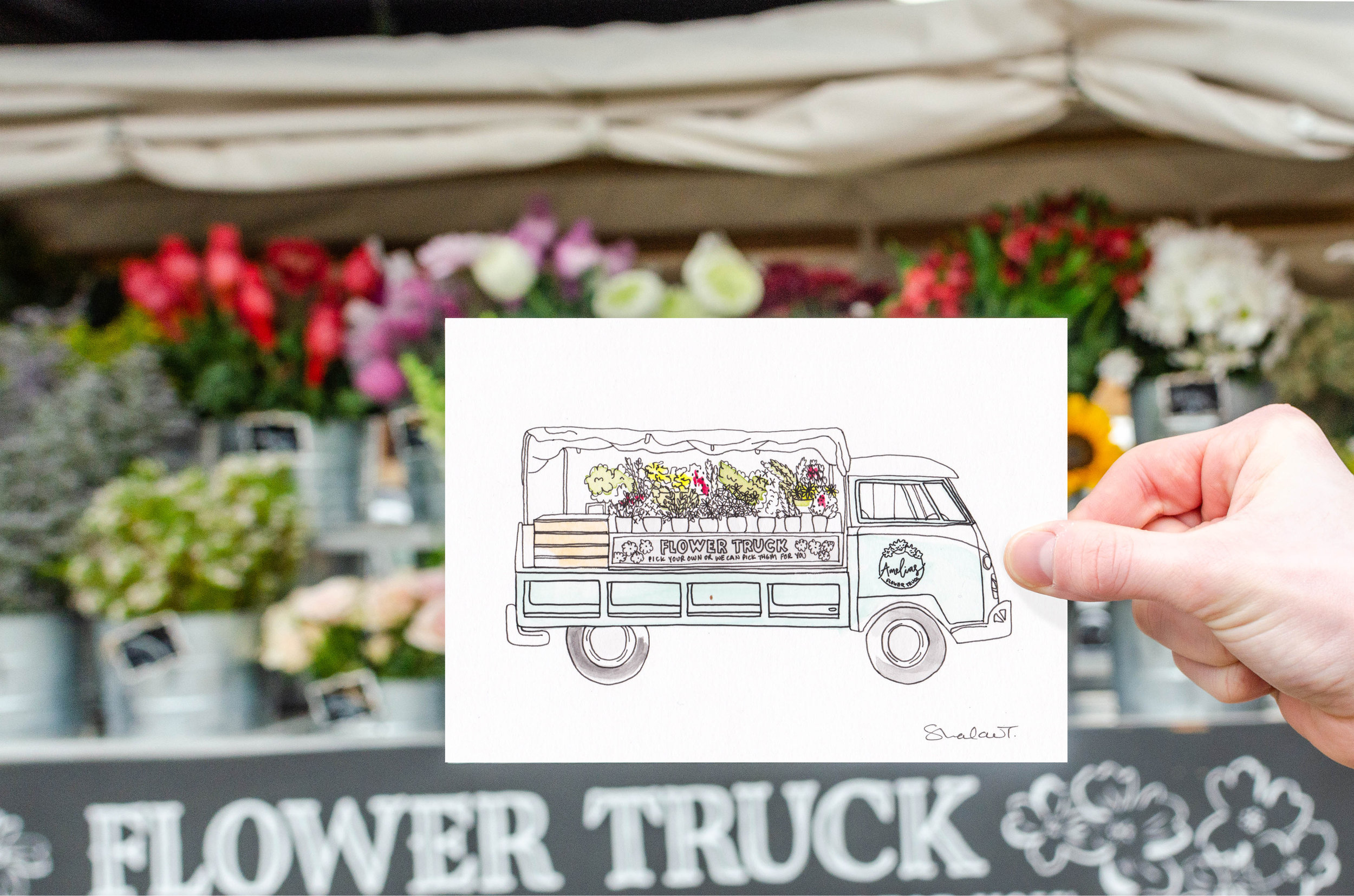 BYOB (Build Your Own Bouquet) with Amelia's in Nashville, then BYOH (Bring Your Own Home) with a hand-drawn and painted-to-order illustration!  Now available in the shop.