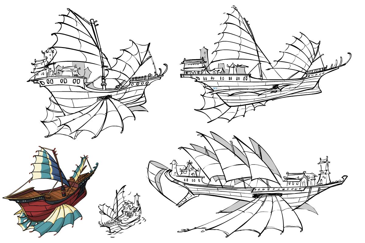 Shenkuu flying ship concepts