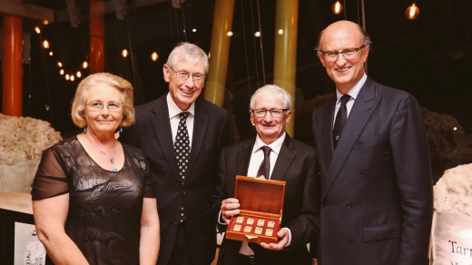 Winners of the Vellus Aureum, Susan (left) and David (centre right) Rowbottom with Chairman Paolo Zegna (right) and ASWGA President Simon Cameron (centre left). Photo: Karon Photography
