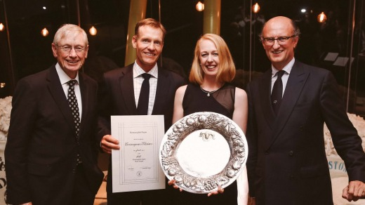 Winner of the Superfine Wool Trophy, David and Angie Waters (centre) with Paolo Zegna (far right) and ASWGA President Simon Cameron (Left). Photo: Karon Photography