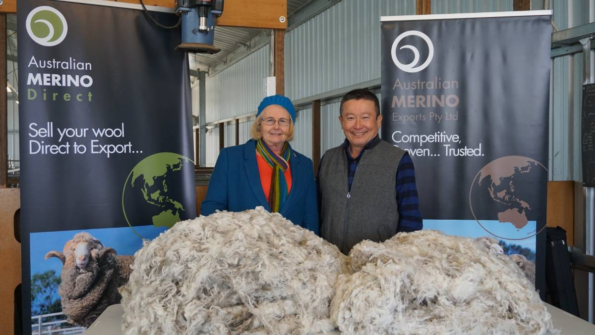 Along the chain: Superfine wool producer Susan Rowbottom of St Helens near Port Fairy with Mike Kuritani from Japanese textile producer Itochu at the Hamilton meeting for superfine wool growers.