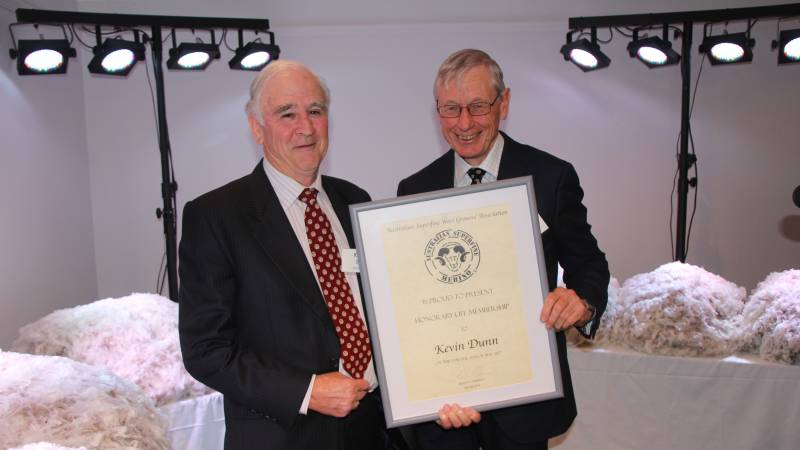 Kevin Dunn was awarded honorary life member of the ASWGA by president Simon Cameron at this year's association conference, held in Hamilton.