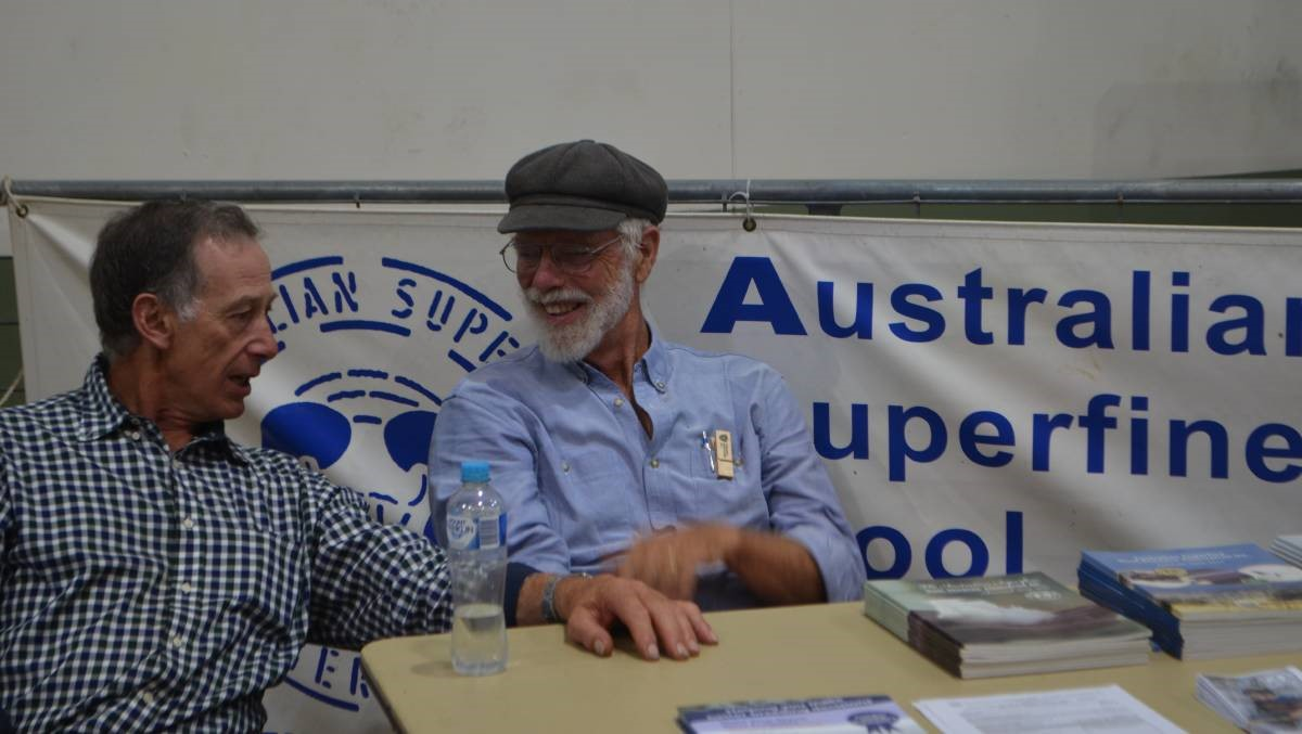 During the 2019 GSSM in Canberra, Geoff Rayner, Pomarana Merino stud, Sallys Flat caught up with fellow superfine wool breeder John Ive.