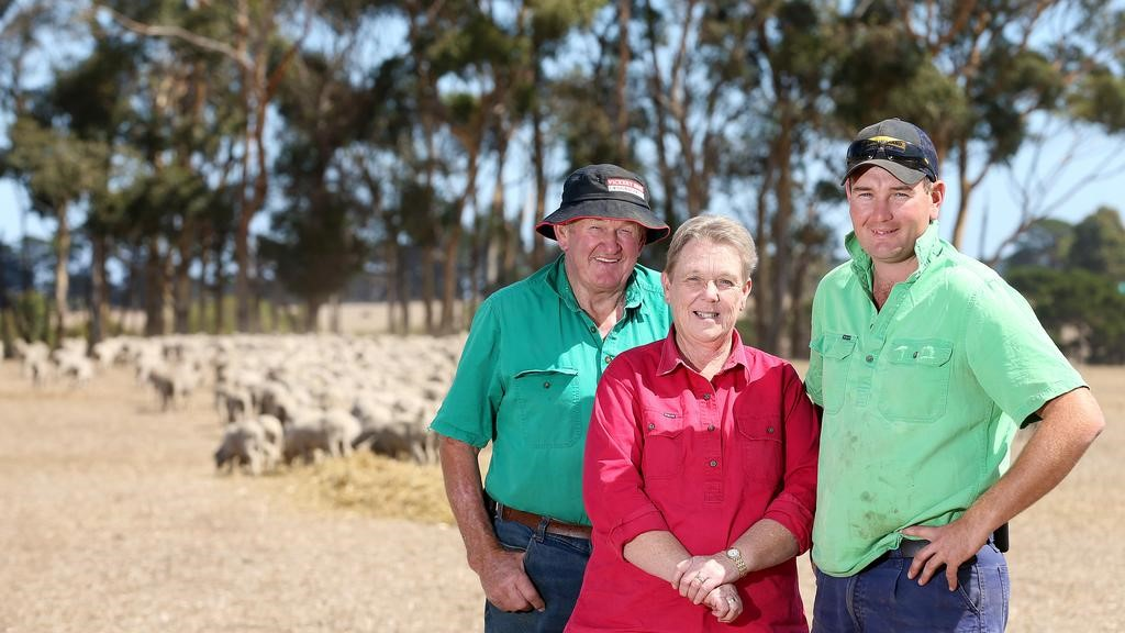 Team effort: Will Kinghorne with parents Barry and Dianne on their Byaduk property. Picture: Andy Rogers