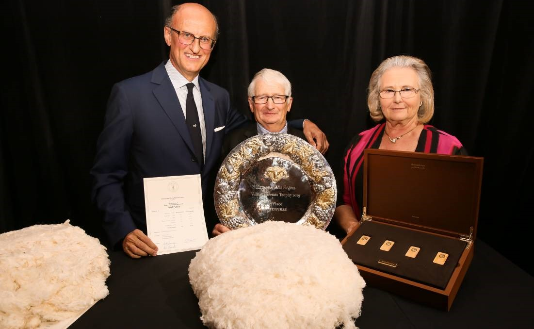 ANOTHER AWARD: David and Susan Rowbottom, pictured with Paolo Zegna, have added an environmental award to their fifth Vellus Aureum trophy.