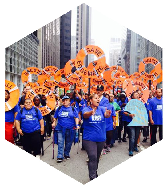 Group marching for environmental justice in Albany, NY